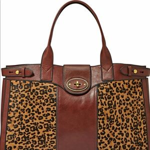Fossil Leather Hair Calf Weekender Leather Bag
